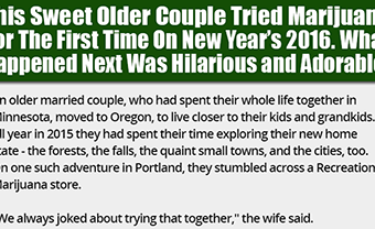 This Sweet Older Couple Tried Marijuana For The First Time On New Year's 2016. What Happened Next Was Hilarious and Adorable!